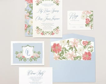 Floral Monogram Wedding Crest Invitation | Boho Flowers | Calligraphy Wedding Invitations | Blush Pink and Blue | Peony Envelope Liner