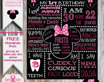 Minnie Mouse First Birthday Chalkboard Sign, Poster, Disney Chalkboard Sign, Chalkboard Photo Prop, Pink and White Polka Dots, Minnie Bow