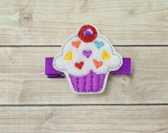 Cupcake Hair Clip, Cupcake Bow, Birthday Hair Clip, Birthday Bow, Valentines Day Clip, Toddler Hair Clips, Felt Hair Clips, Baby Hair Clips