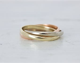 vintage russian wedding ring tri color rolling ring interlocking ring trinity ring - Interlocking Wedding Rings