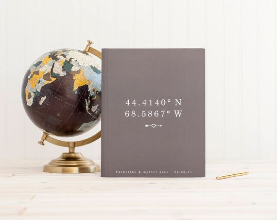 Lay Flat Wedding Guest Book Wedding Guestbook Wedding Photo Book Guest Sign in Book Coordinates Wedding Photo Album Booth Photo Guest Book