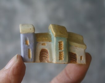 miniature row houses, OOAK carved stoneware clay