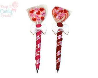 Valentines Heart Shaped Lollipop Pens, Valentines Day, Valentines, Candy, Lollipop, Pen, Favor, Gift, Heart, Pink, Red, Small Gift, Gift