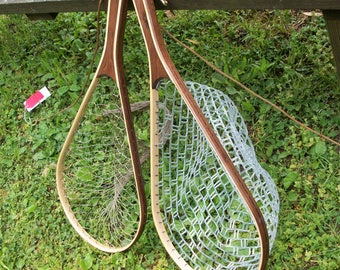 Price Reduced: Walnut/Ash handmade trout fishing net with Safety Tether,  Release Snap & choice of clear rubber or traditional nylon netting