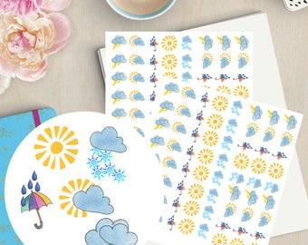 weather stickers weather planner stickers sunshine sticker printable planner stickers cloud stickers weather clipart happy planner - Field Service Organizer