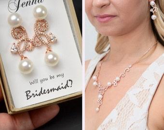 Bridesmaid Gift, Bridesmaid Jewelry Set, Bridesmaid Earrings, Pearl Necklace  Earrings Set,Personalized Bridesmaid Gift,Wedding Jewelry Set