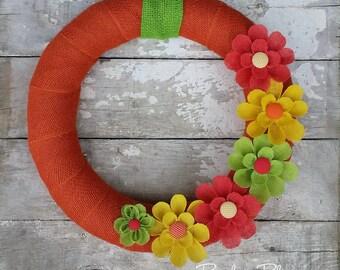 Bright Summer Wreath, Burlap Wreath, Floral Wreath, Year Round Wreath, Orange Wreath, Beach Wreath, Everyday Wreath