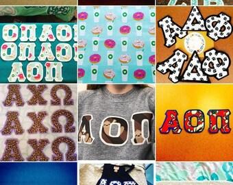 Customizable Iron on Greek Letters!