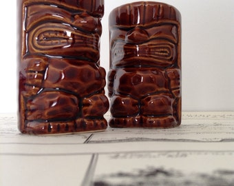 Vintage Salt and Pepper Shakers, Tiki Souvenir Salt and Pepper,
