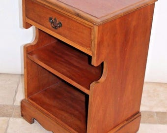 Vintage End Table Cherry Wood Two Level Table Drawer By Stanley Furniture