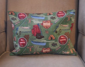 Travel Pillow Case / Child Pillow Case THE GREAT OUTDOORS in Flannel / Campsite / Hiking / Canoe / Fishing / Hunting