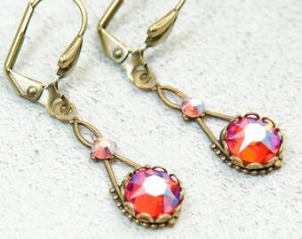 Orange Earrings, Hyacinth Earrings, Copper Fuchsia Purple, Victorian Earrings, Wedding Earrings, Bridesmaid Gift, Vintage Style