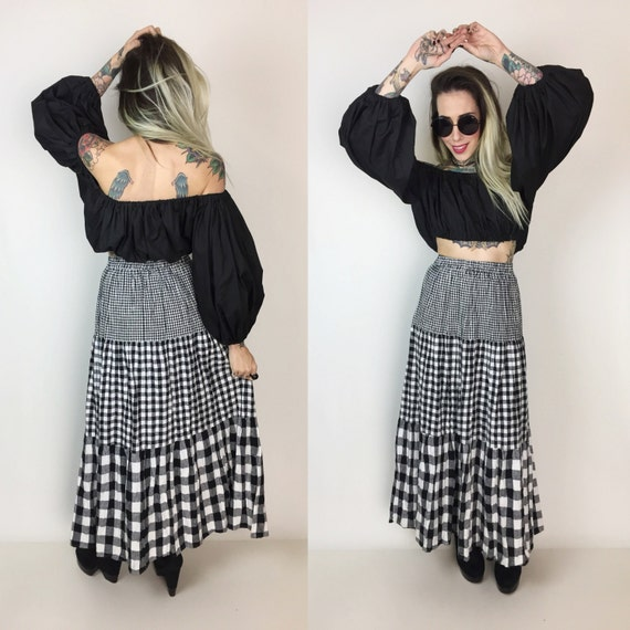 Vintage High Waist Black & White Gingham Print Linen Maxi Skirt Small - Black White All Over Print Tiered Peasant Skirt 2/4 Mixed Prints