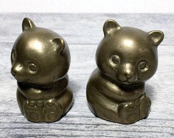 Cute Solid Brass Panda Bears Paperweights Figurines