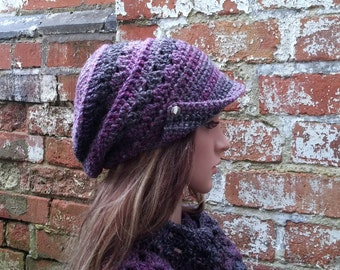 Crochet newsboy beanie hat . Newsboy hat with buttons . Crochet hat for women  Colourful beanie hat