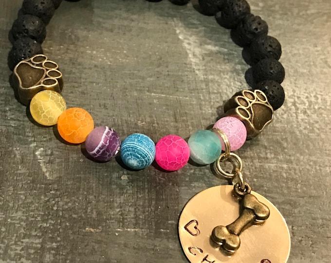 Rainbow bridge pet loss yoga Chakra style bracelet with brass charm paw prints
