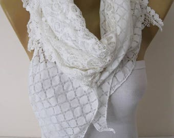 New-Lace Scarf- White Scarf -White Scarf with Lace-Gift Scarf-Fashion Accessories for her-Shawls fo women