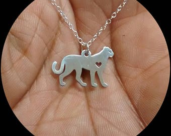 Cheetah Necklace - Engrave Pendant - Sterling Silver Jewelry- Gold Jewelry- Rose Gold Jewelry- Personalized Pet Jewelry - Animal Pet Cat