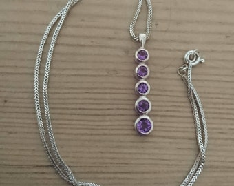 Vintage sterling silver amethyst drop pendant and chain