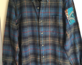 Vintage Womens oversized Blue Plaid 100% cotton Flannel Shirt one size fits most s m l xl embroidered vintage quilted sari patches