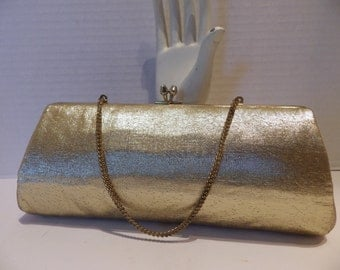 1950s Gold Lame Evening Bag Clutch Convertible Baguette Chain