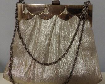 1960s Vintage HL Harry Levine Metallic Gold Lame Handbag Scalloped Brass Frame