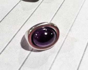 Licorice Oval Slider, Amethyst Gemstone Slider Set for Licorice Leather, Purple