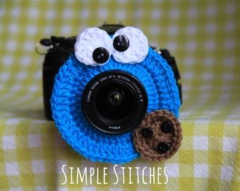 Cookie Monster Camera Lens Buddy - Crocheted Lens Helper