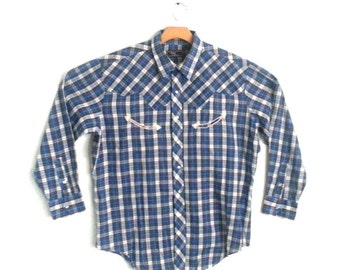 Men's Vintage Shirt Western Plaid Large
