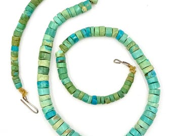 Vintage TURQUOISE HEISHI NECKLACE Native American Graduated Turquoise Heishi Bead Necklace Early Hand Made