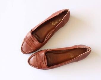 Vintage Leather Loafer Slip On Oxfords Size 7.5 Women's Flats