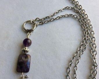 CONVERTIBLE  NECKLACE , Long  Necklace, Amethyst, Swarovski  Crystals
