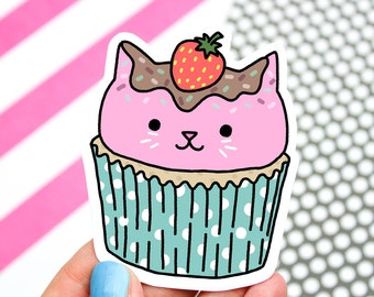 Kitty Sticker, Sweet Cat, Cupcakes, Cute Cat Sticker, Cat Cupcake, Kawaii, Car Decal, Laptop Stickers, Gift For Her, Birthday Day Gift