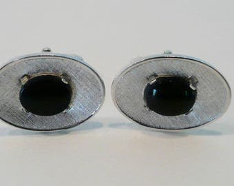 Vintage  Mid Century Oval Silver Tone Cufflinks With Black Glass Cabochon