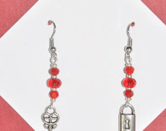 Earrings Silver Key Lock Red Crystal Dangle Mis-Matched #F01a
