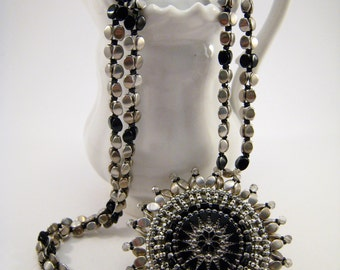 Black Bead Embroidery Mandala Pendant with Beadwoven Necklace, Black and Silver Czech Glass Button Pendant, Black Statement Jewelry