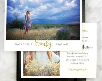 Graduation Announcement Card - Classic Grad Invitation - Class of 2017 - High School Senior 2017 - Gold Foil - Elegant - Printed - Printable