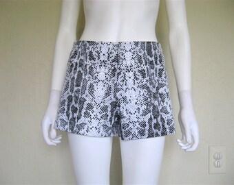 90s Snakeskin Print Shorts / grey hot pants