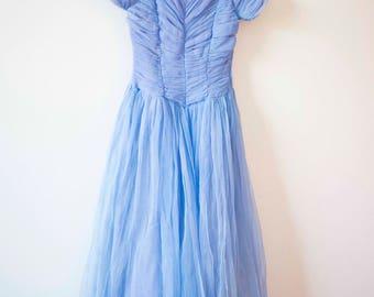 Lilac Chiffon Prom Dress || 1950's Evening Gown || Madmen Inspired Dress