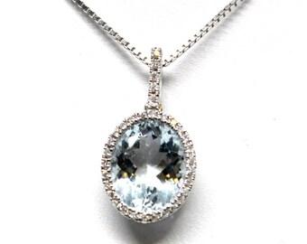 18k White Gold DIamond Aquamarine Pendant Necklace Christmas Gift Something Blue Wedding