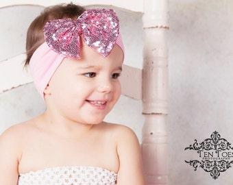 Baby Turban Headband, Pink Bow Baby Headband, Baby Headbands, Infant Turban