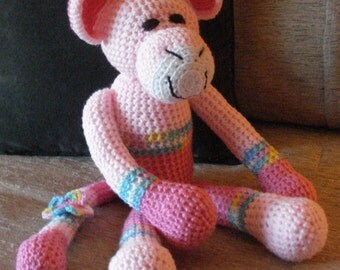 "Crocheted monkey stuffed animal doll toy ""Mindy"""