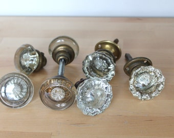 Vintage Glass and Brass Door Knob Assortment of 7 (3 singles w/o shaft, 2 with shaft, 1 full set)