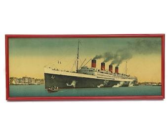 "Antique Ship Art Print of Transatlantic Ocean Liner ""France"". Nautical Decor."