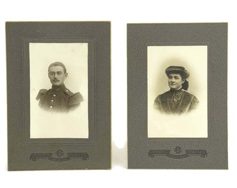 French Antique Cabinet Card Photo Portraits of Husband and Wife.