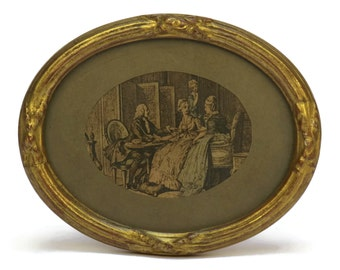 Antique Miniature Romantic French Boudoir Engraving in Oval Frame. Framed Antique Print. French Art.