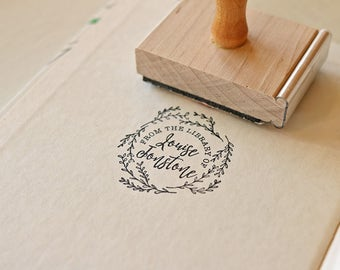 Custom Library Stamp - Calligraphy Book Stamp - Ex Libris - From the Library of - Wreath Laurel Feminine Rubber Stamp