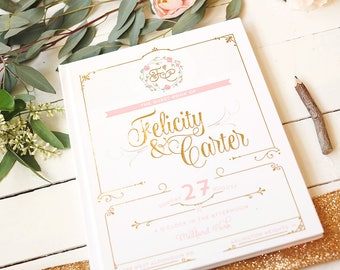 Gold Foil & Blush Wedding Guest Book • Romantic Script Elegant Personalized Poloroid Guestbook • 8 x 10