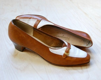 1970's Salvatore Ferragamo brown leather oxford heels • size 8