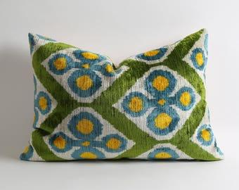 Yellow blue green handwoven designer silk velvet ikat pillow cover // handwoven uzbek lumbar decorative pillows for couch 16x22 inches